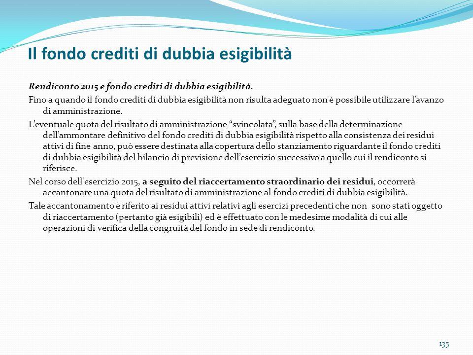 Il fondo crediti di dubbia esigibilità 135 Rendiconto 2015 e fondo crediti di dubbia esigibilità. Fino a quando il fondo crediti di dubbia esigibilità
