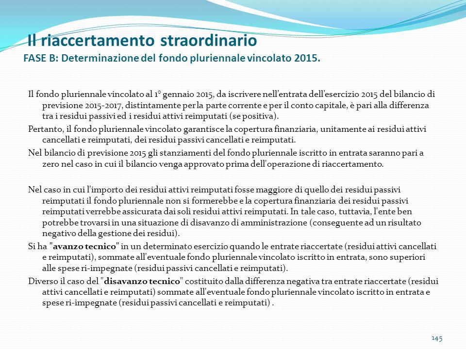Il riaccertamento straordinario FASE B: Determinazione del fondo pluriennale vincolato 2015. 145 Il fondo pluriennale vincolato al 1° gennaio 2015, da