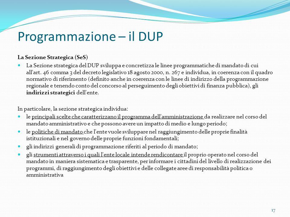 Programmazione – il DUP La Sezione Strategica (SeS) La Sezione strategica del DUP sviluppa e concretizza le linee programmatiche di mandato di cui all