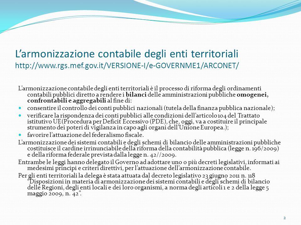 L'armonizzazione contabile degli enti territoriali http://www.rgs.mef.gov.it/VERSIONE-I/e-GOVERNME1/ARCONET/ L'armonizzazione contabile degli enti ter