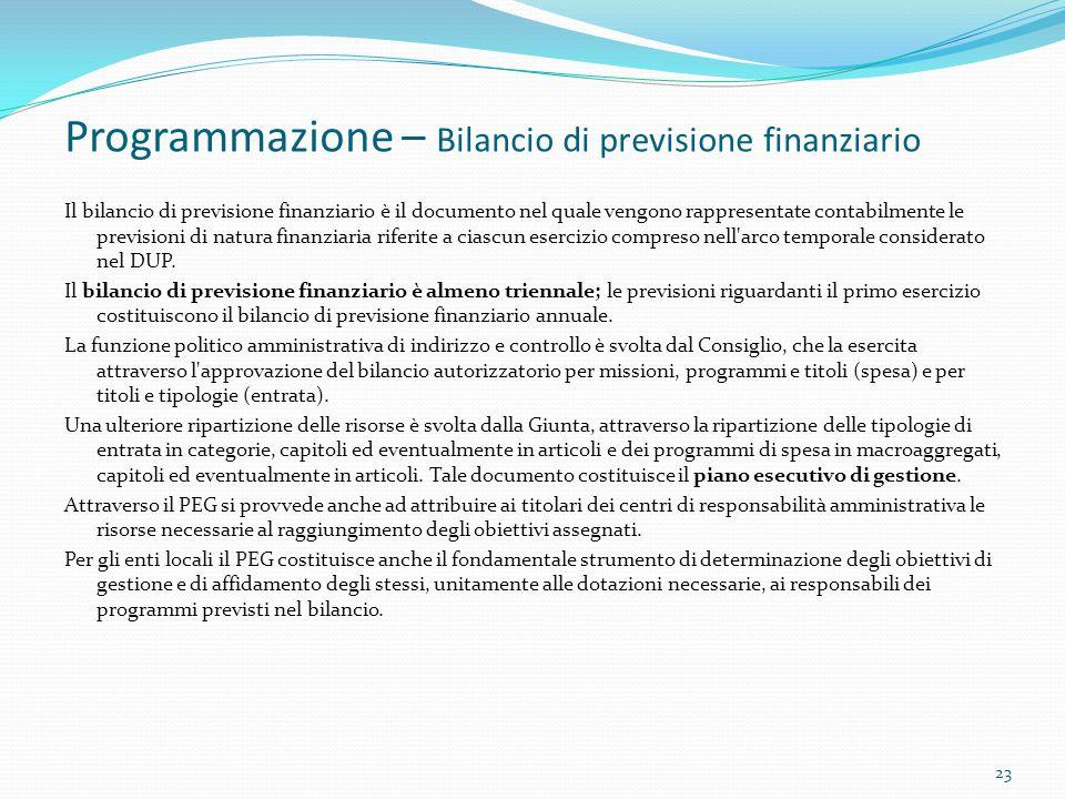Programmazione – Bilancio di previsione finanziario Il bilancio di previsione finanziario è il documento nel quale vengono rappresentate contabilmente