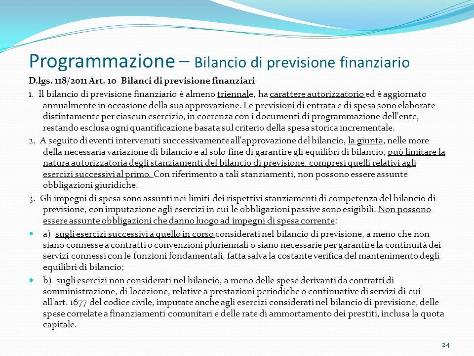 Programmazione – Bilancio di previsione finanziario D.lgs. 118/2011 Art. 10 Bilanci di previsione finanziari 1. Il bilancio di previsione finanziario