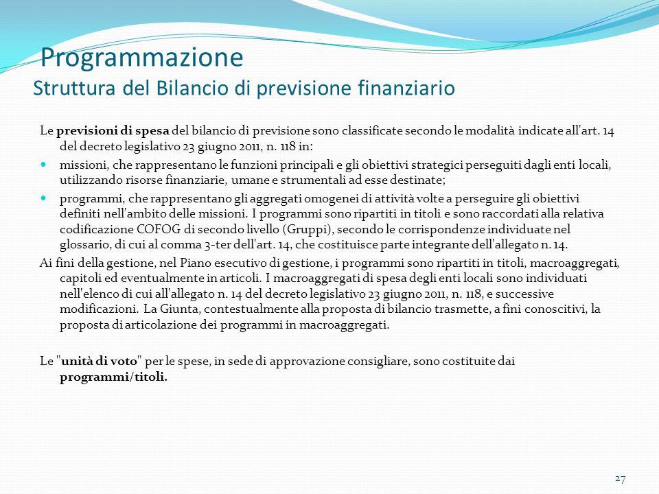 Programmazione Struttura del Bilancio di previsione finanziario Le previsioni di spesa del bilancio di previsione sono classificate secondo le modalit