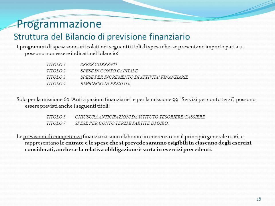 Programmazione Struttura del Bilancio di previsione finanziario I programmi di spesa sono articolati nei seguenti titoli di spesa che, se presentano i
