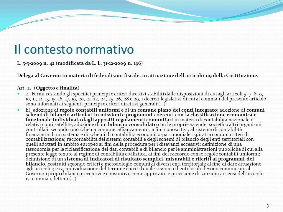 Il contesto normativo L. 5-5-2009 n. 42 (modificata da L. L. 31-12-2009 n. 196) Delega al Governo in materia di federalismo fiscale, in attuazione del
