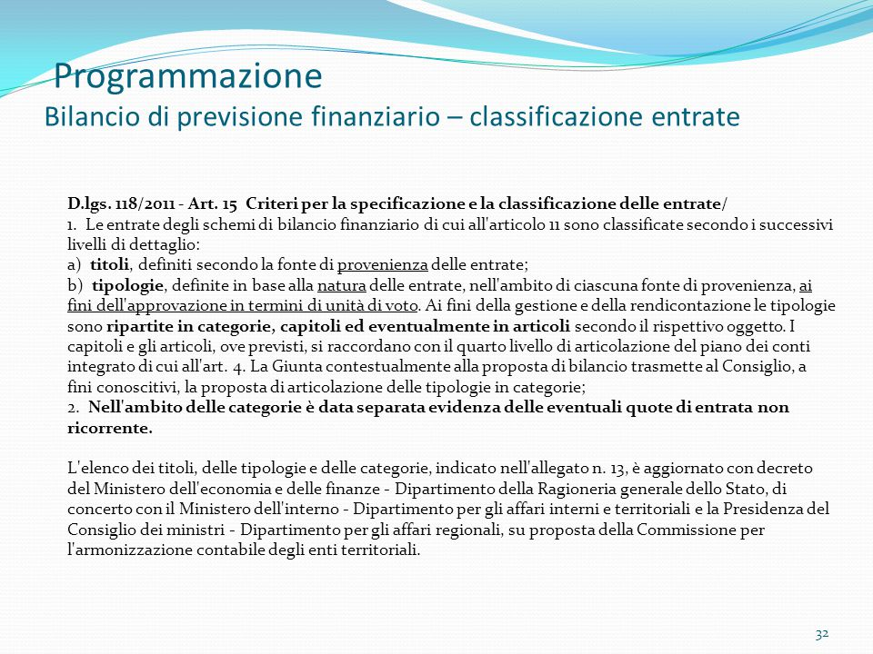 Programmazione Bilancio di previsione finanziario – classificazione entrate 32 D.lgs. 118/2011 - Art. 15 Criteri per la specificazione e la classifica