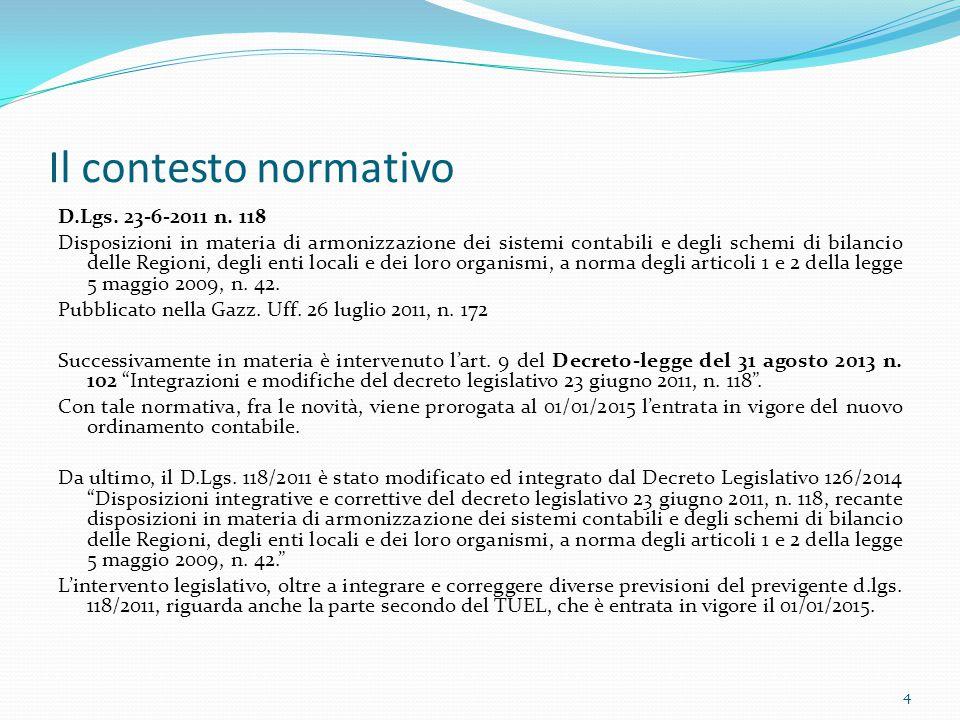 Il contesto normativo D.Lgs. 23-6-2011 n. 118 Disposizioni in materia di armonizzazione dei sistemi contabili e degli schemi di bilancio delle Regioni
