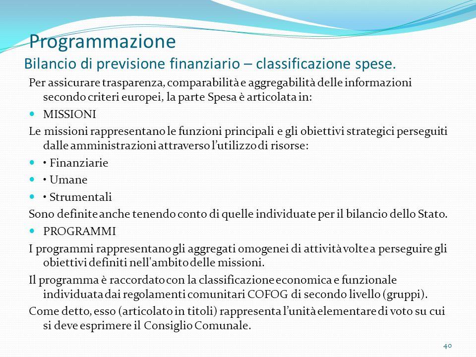 Programmazione Bilancio di previsione finanziario – classificazione spese. Per assicurare trasparenza, comparabilità e aggregabilità delle informazion