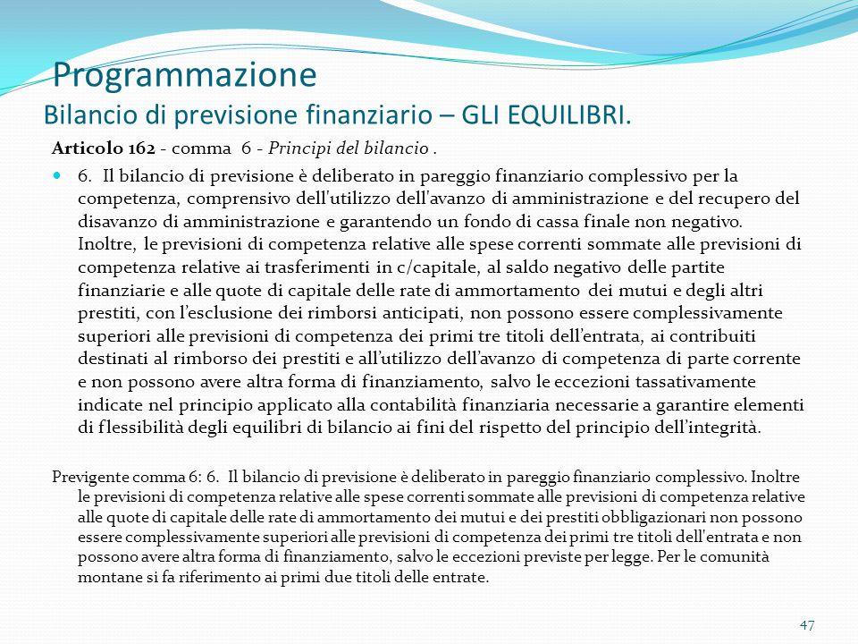 Programmazione Bilancio di previsione finanziario – GLI EQUILIBRI. Articolo 162 - comma 6 - Principi del bilancio. 6. Il bilancio di previsione è deli