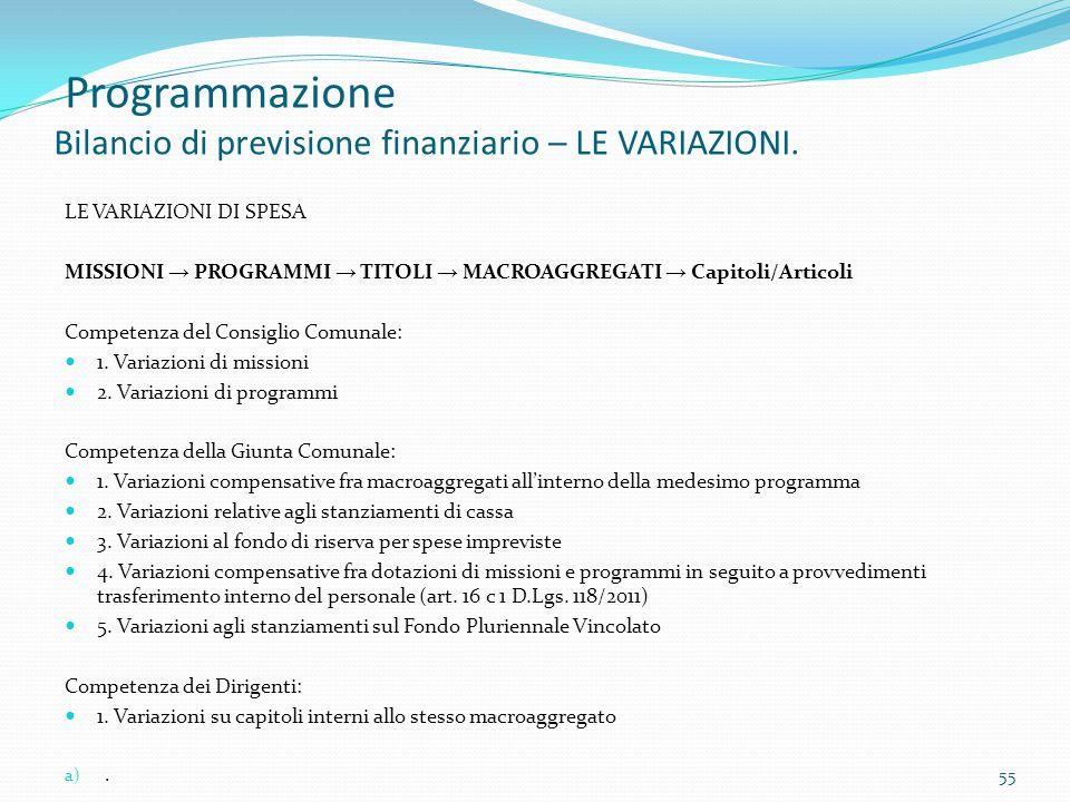 Programmazione Bilancio di previsione finanziario – LE VARIAZIONI. LE VARIAZIONI DI SPESA MISSIONI → PROGRAMMI → TITOLI → MACROAGGREGATI → Capitoli/Ar