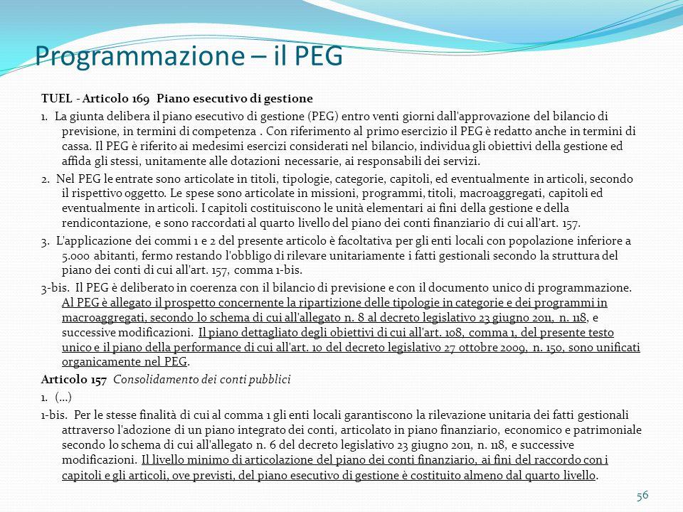 Programmazione – il PEG TUEL - Articolo 169 Piano esecutivo di gestione 1. La giunta delibera il piano esecutivo di gestione (PEG) entro venti giorni