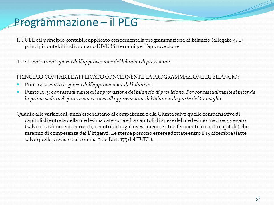 Programmazione – il PEG Il TUEL e il principio contabile applicato concernente la programmazione di bilancio (allegato 4/ 1) principi contabili indivu
