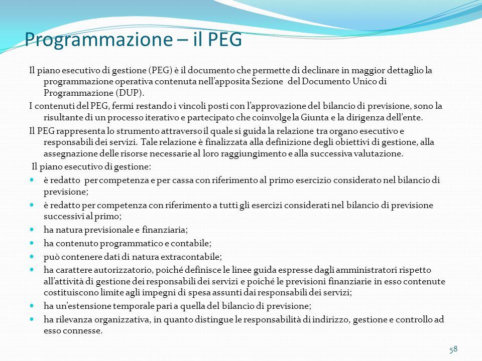 Programmazione – il PEG Il piano esecutivo di gestione (PEG) è il documento che permette di declinare in maggior dettaglio la programmazione operativa