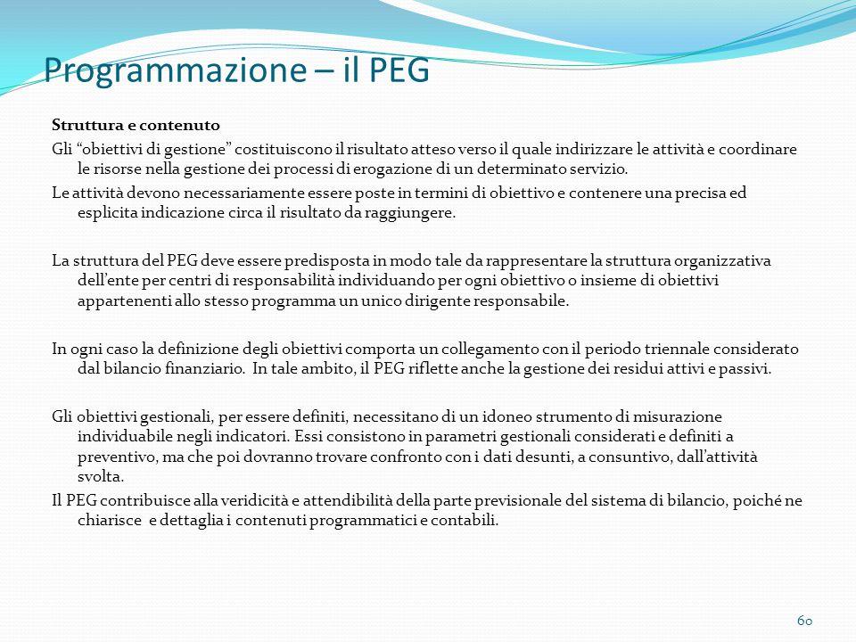 """Programmazione – il PEG Struttura e contenuto Gli """"obiettivi di gestione"""" costituiscono il risultato atteso verso il quale indirizzare le attività e c"""