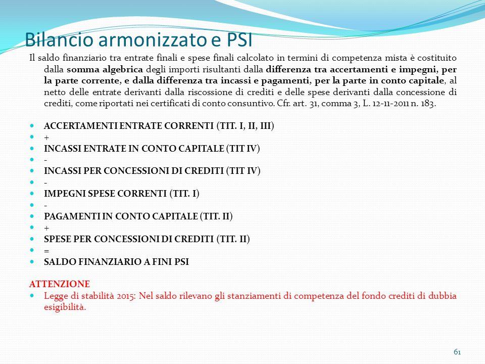 Bilancio armonizzato e PSI Il saldo finanziario tra entrate finali e spese finali calcolato in termini di competenza mista è costituito dalla somma al