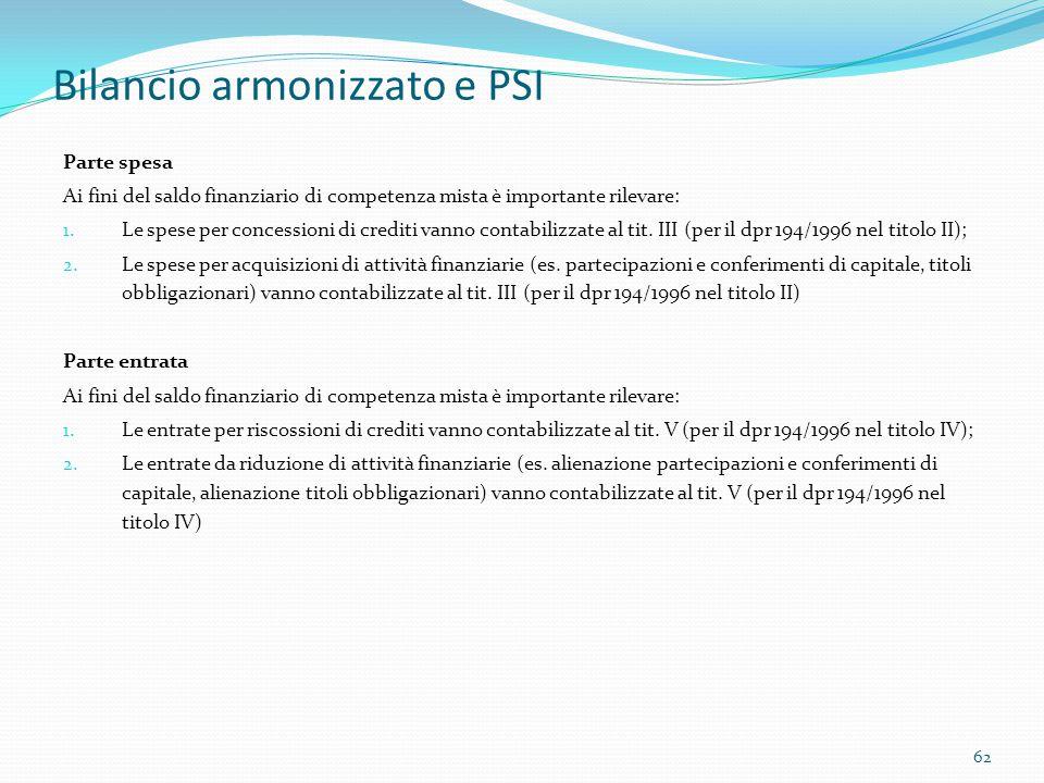 Bilancio armonizzato e PSI Parte spesa Ai fini del saldo finanziario di competenza mista è importante rilevare: 1. Le spese per concessioni di crediti