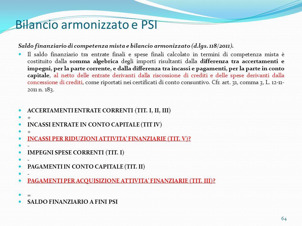 Bilancio armonizzato e PSI Saldo finanziario di competenza mista e bilancio armonizzato (d.lgs. 118/2011). Il saldo finanziario tra entrate finali e s