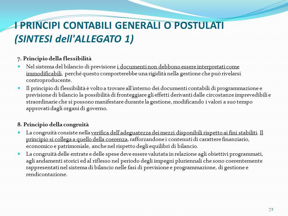 I PRINCIPI CONTABILI GENERALI O POSTULATI (SINTESI dell'ALLEGATO 1) 7. Principio della flessibilità Nel sistema del bilancio di previsione i documenti