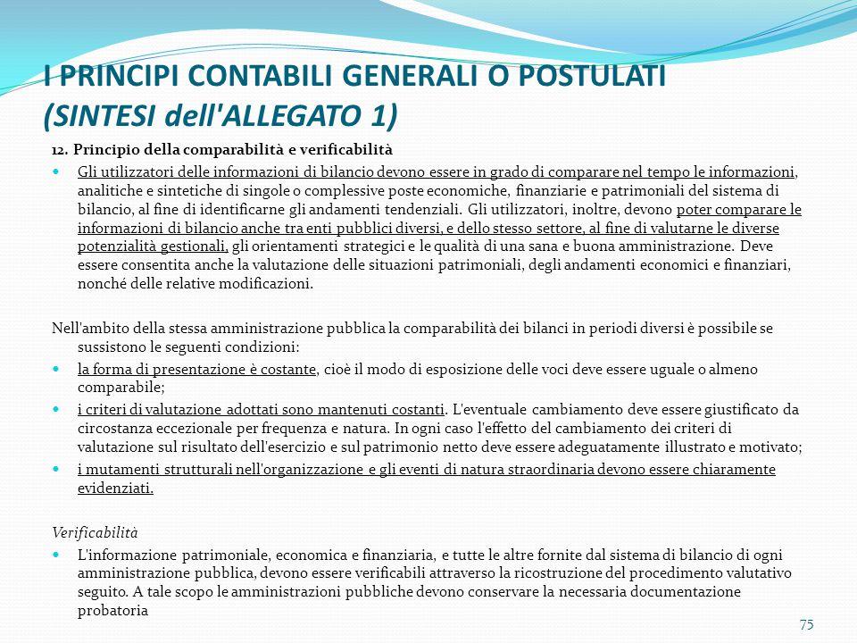 I PRINCIPI CONTABILI GENERALI O POSTULATI (SINTESI dell'ALLEGATO 1) 12. Principio della comparabilità e verificabilità Gli utilizzatori delle informaz