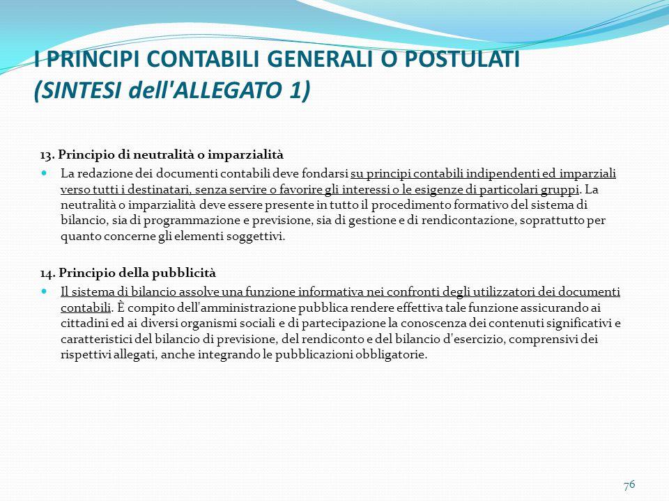 I PRINCIPI CONTABILI GENERALI O POSTULATI (SINTESI dell'ALLEGATO 1) 13. Principio di neutralità o imparzialità La redazione dei documenti contabili de