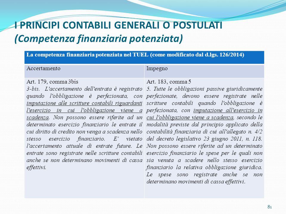 I PRINCIPI CONTABILI GENERALI O POSTULATI (Competenza finanziaria potenziata) 81 La competenza finanziaria potenziata nel TUEL (come modificato dal d.