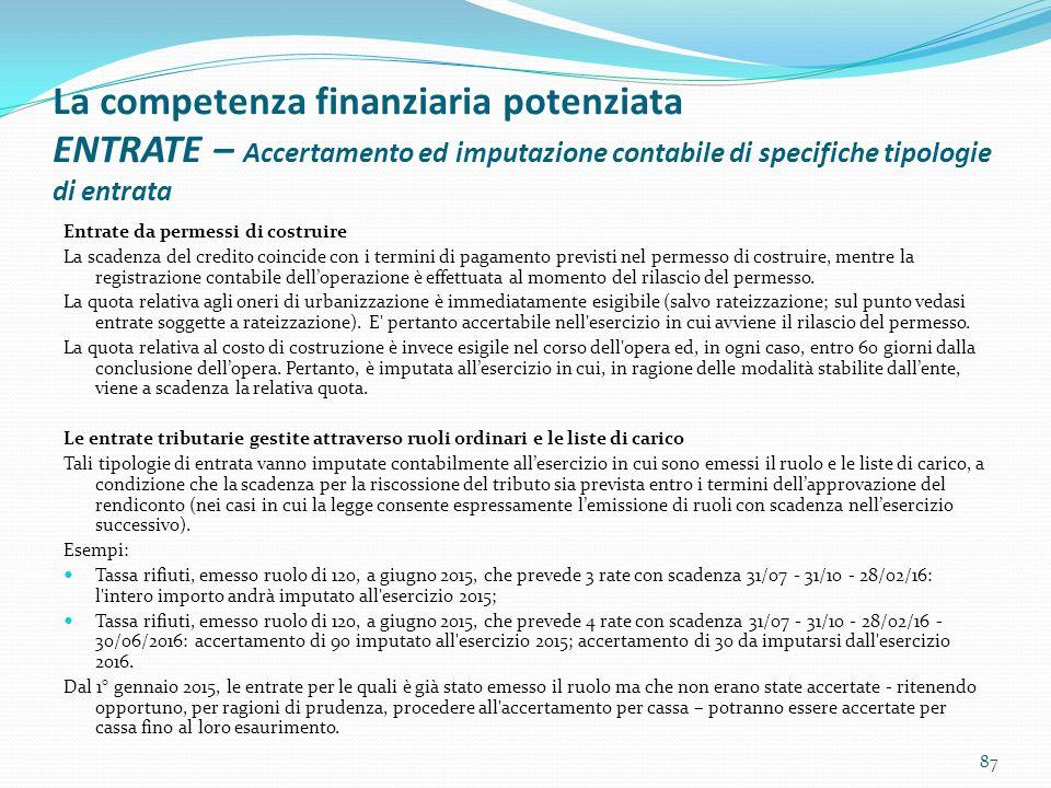 La competenza finanziaria potenziata ENTRATE – Accertamento ed imputazione contabile di specifiche tipologie di entrata Entrate da permessi di costrui