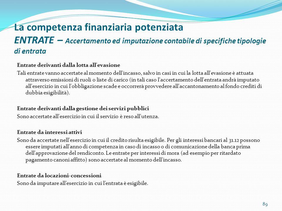La competenza finanziaria potenziata ENTRATE – Accertamento ed imputazione contabile di specifiche tipologie di entrata Entrate derivanti dalla lotta