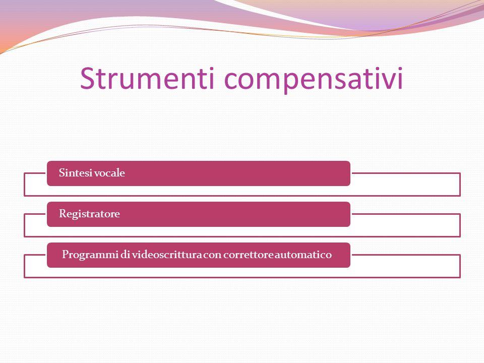 Strumenti compensativi Sintesi vocaleRegistratore Programmi di videoscrittura con correttore automatico