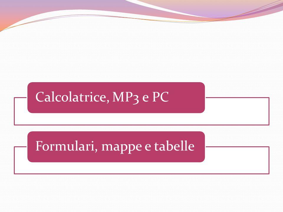 Calcolatrice, MP3 e PCFormulari, mappe e tabelle