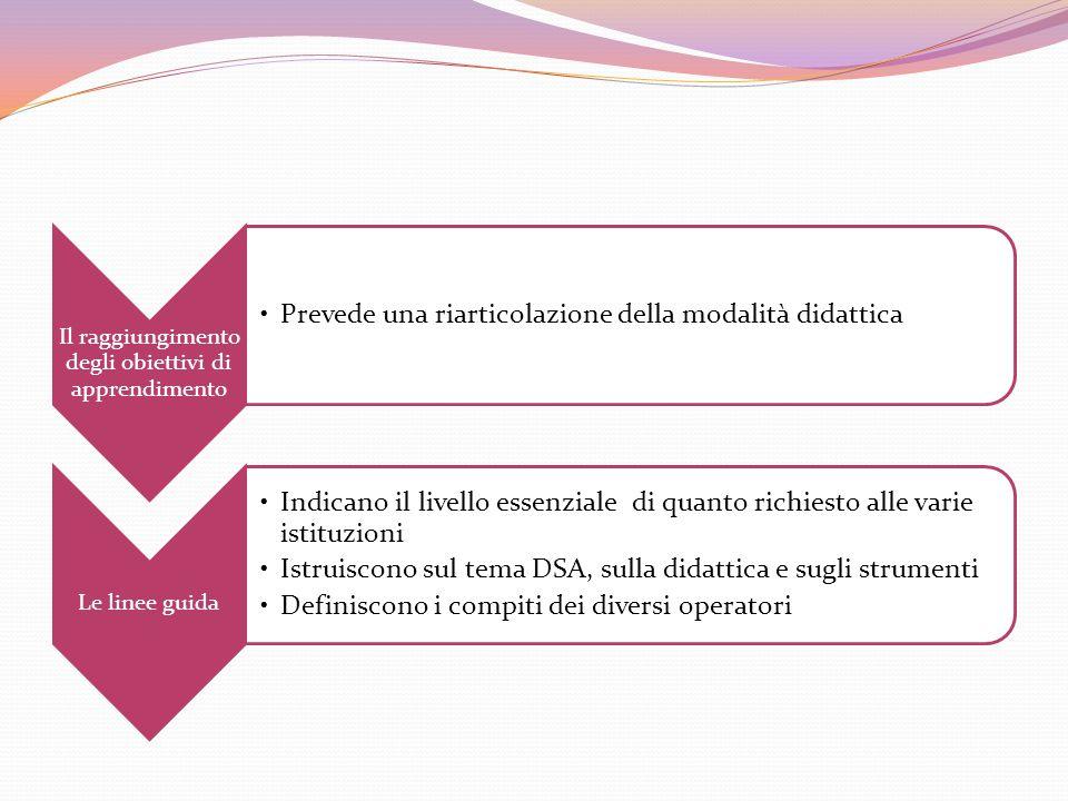 Il raggiungimento degli obiettivi di apprendimento Prevede una riarticolazione della modalità didattica Le linee guida Indicano il livello essenziale di quanto richiesto alle varie istituzioni Istruiscono sul tema DSA, sulla didattica e sugli strumenti Definiscono i compiti dei diversi operatori