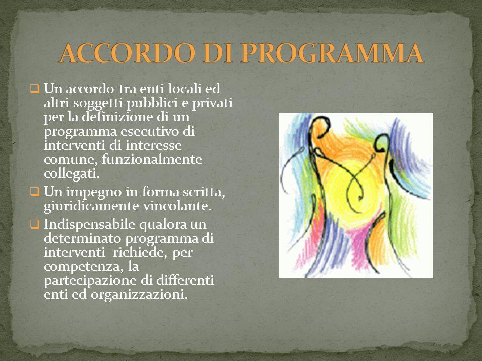  Un accordo tra enti locali ed altri soggetti pubblici e privati per la definizione di un programma esecutivo di interventi di interesse comune, funzionalmente collegati.