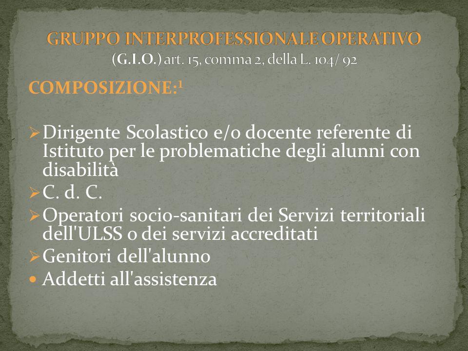 COMPOSIZIONE:¹  Dirigente Scolastico e/o docente referente di Istituto per le problematiche degli alunni con disabilità  C.