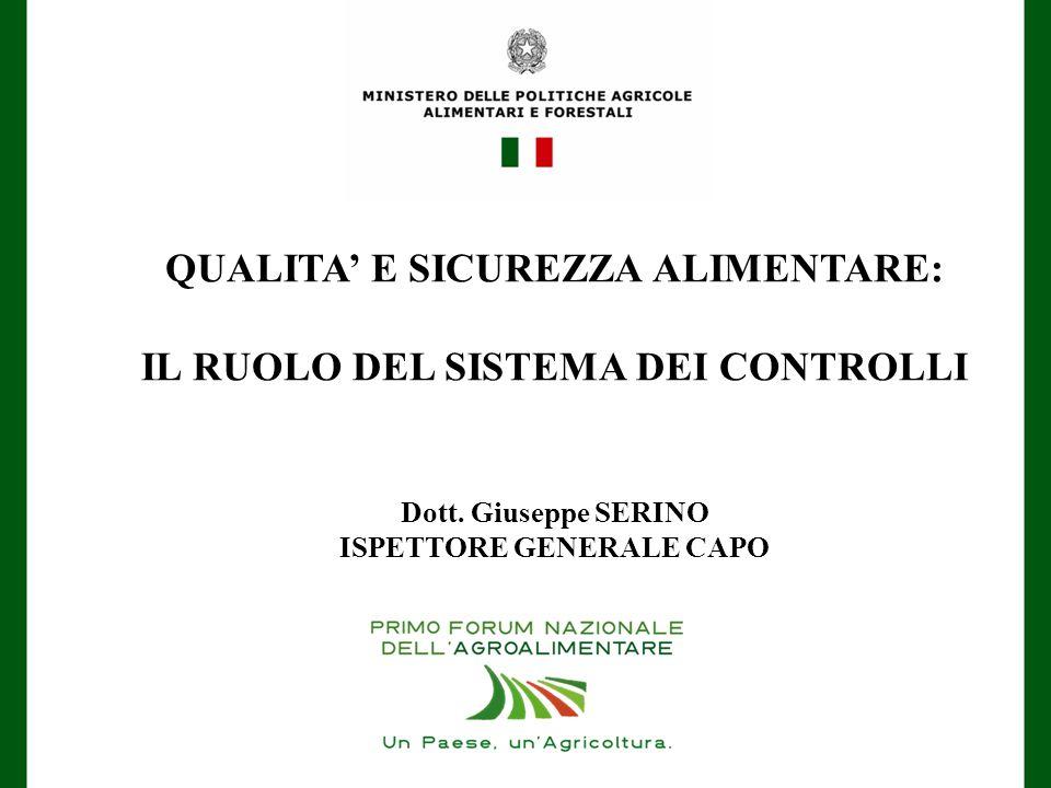 QUALITA' E SICUREZZA ALIMENTARE: IL RUOLO DEL SISTEMA DEI CONTROLLI Dott. Giuseppe SERINO ISPETTORE GENERALE CAPO