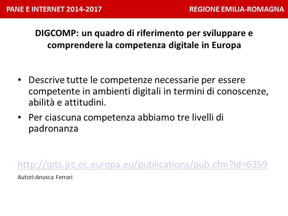 PANE E INTERNET 2014-2017 REGIONE EMILIA-ROMAGNA DIGCOMP: un quadro di riferimento per sviluppare e comprendere la competenza digitale in Europa Descrive tutte le competenze necessarie per essere competente in ambienti digitali in termini di conoscenze, abilità e attitudini.