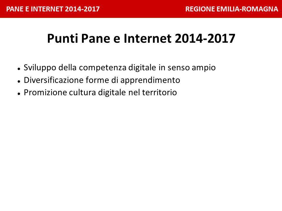 PANE E INTERNET 2014-2017 REGIONE EMILIA-ROMAGNA Punti Pane e Internet 2014-2017 Sviluppo della competenza digitale in senso ampio Diversificazione forme di apprendimento Promizione cultura digitale nel territorio