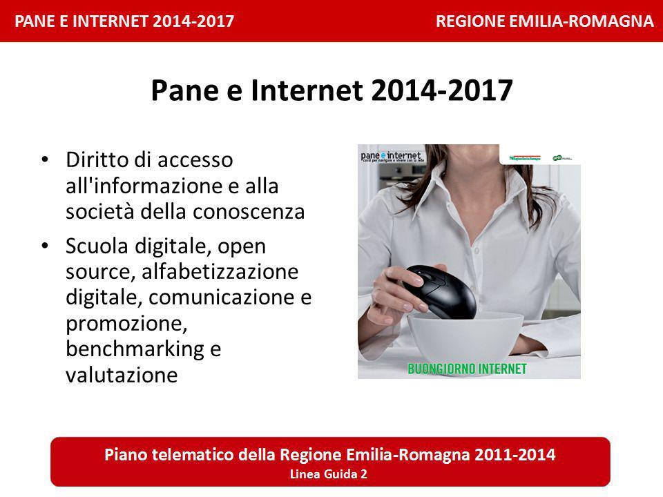 PANE E INTERNET 2014-2017 REGIONE EMILIA-ROMAGNA Pane e Internet 2014-2017 Diritto di accesso all informazione e alla società della conoscenza Scuola digitale, open source, alfabetizzazione digitale, comunicazione e promozione, benchmarking e valutazione