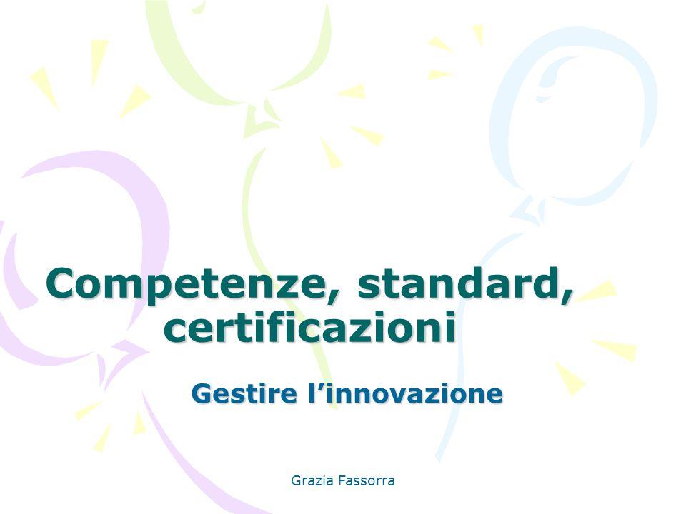Grazia Fassorra Competenze, standard, certificazioni Gestire l'innovazione