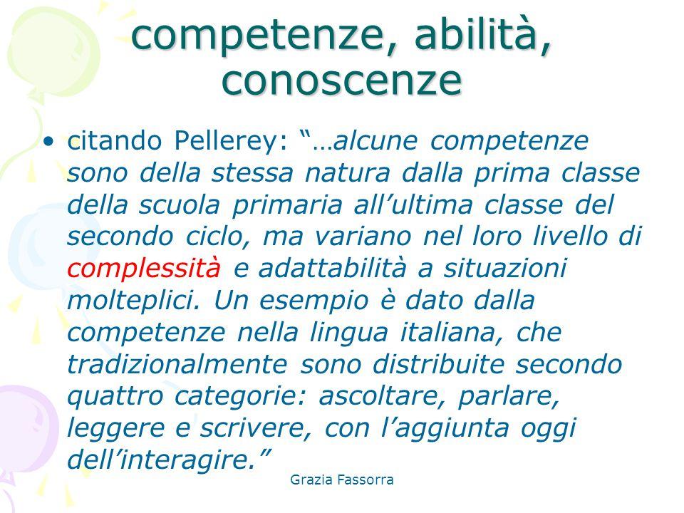 """Grazia Fassorra competenze, abilità, conoscenze citando Pellerey: """"…alcune competenze sono della stessa natura dalla prima classe della scuola primari"""