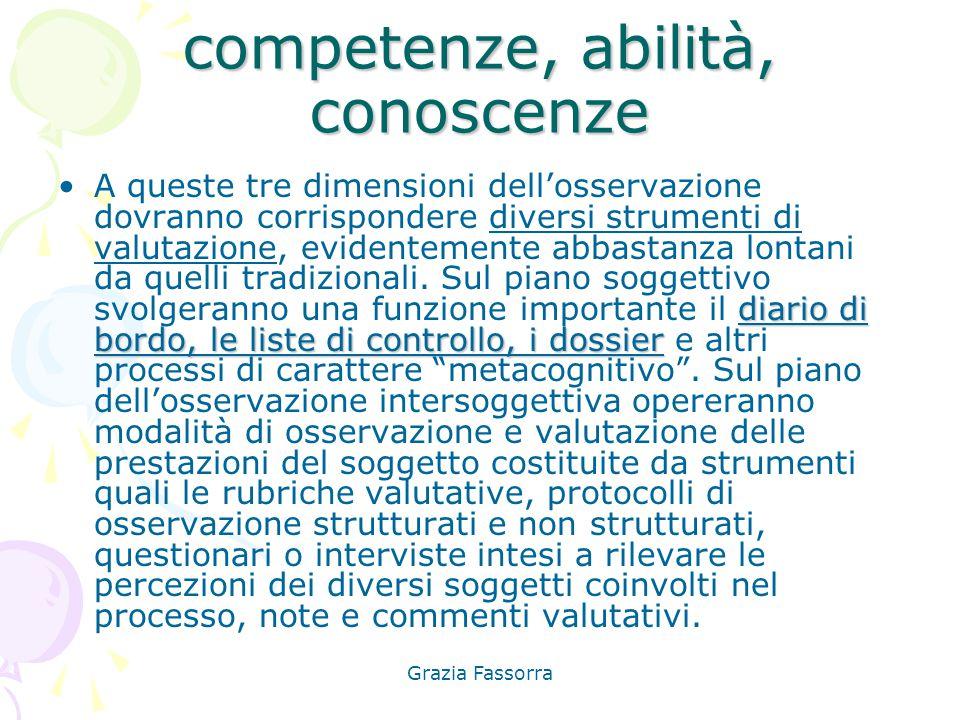 Grazia Fassorra competenze, abilità, conoscenze diario di bordo, le liste di controllo, i dossierA queste tre dimensioni dell'osservazione dovranno co