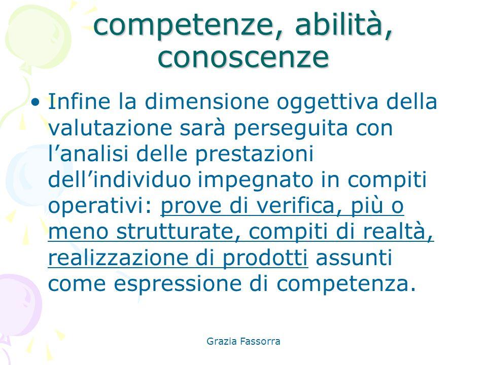 Grazia Fassorra competenze, abilità, conoscenze Infine la dimensione oggettiva della valutazione sarà perseguita con l'analisi delle prestazioni dell'