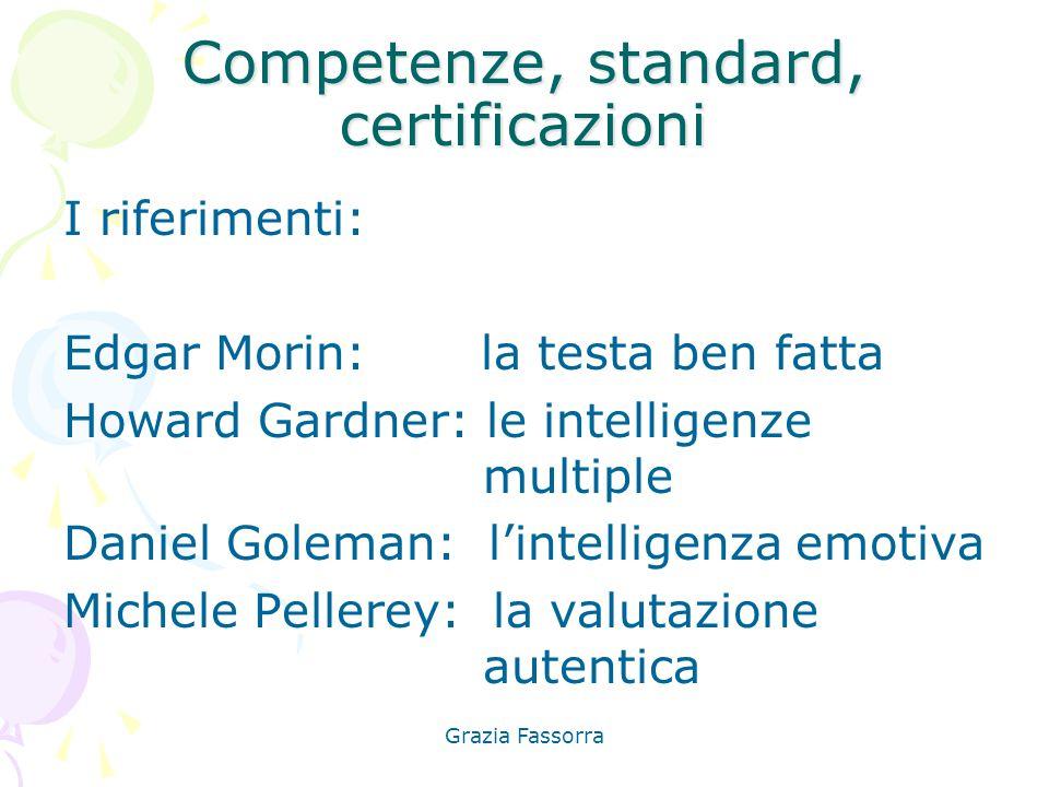 Grazia Fassorra Competenze, standard, certificazioni I riferimenti: Edgar Morin: la testa ben fatta Howard Gardner: le intelligenze multiple Daniel Go