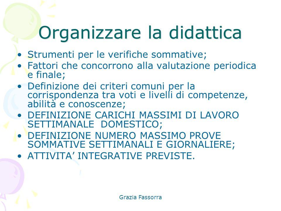 Grazia Fassorra Organizzare la didattica Strumenti per le verifiche sommative; Fattori che concorrono alla valutazione periodica e finale; Definizione