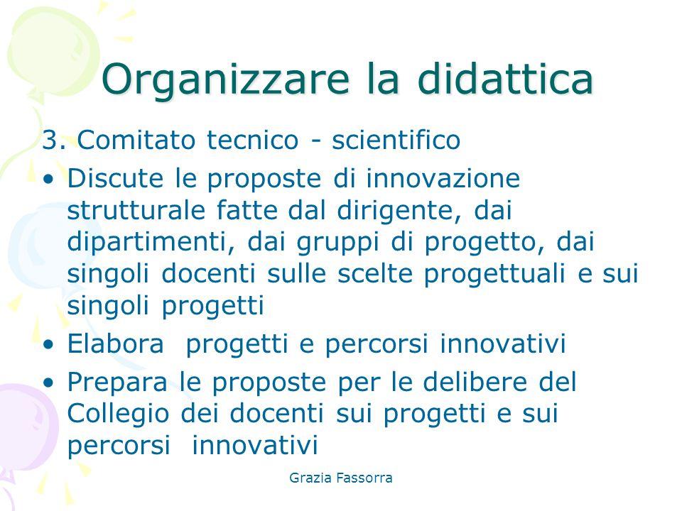 Grazia Fassorra Organizzare la didattica Organizzare la didattica 3. Comitato tecnico - scientifico Discute le proposte di innovazione strutturale fat