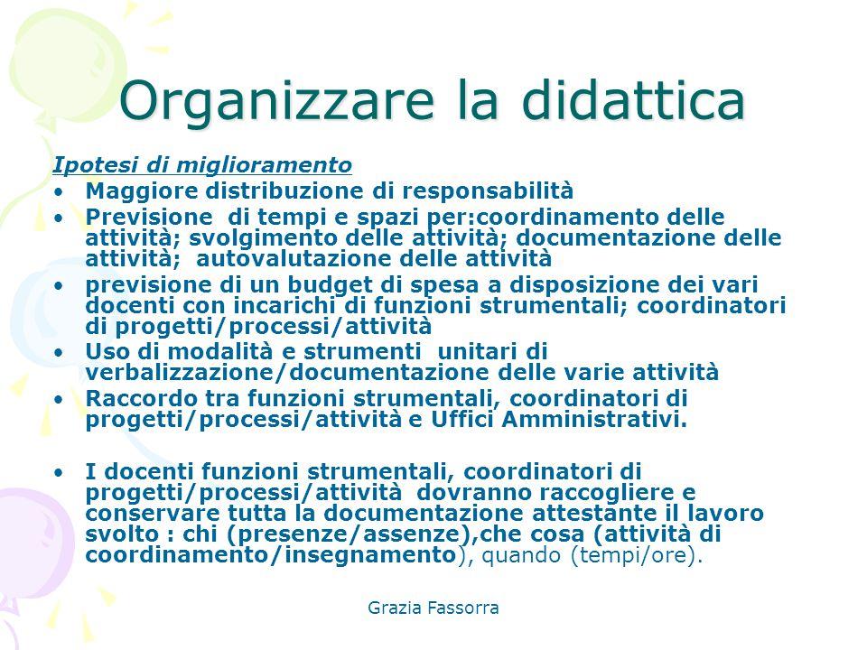 Grazia Fassorra Organizzare la didattica Ipotesi di miglioramento Maggiore distribuzione di responsabilità Previsione di tempi e spazi per:coordinamen