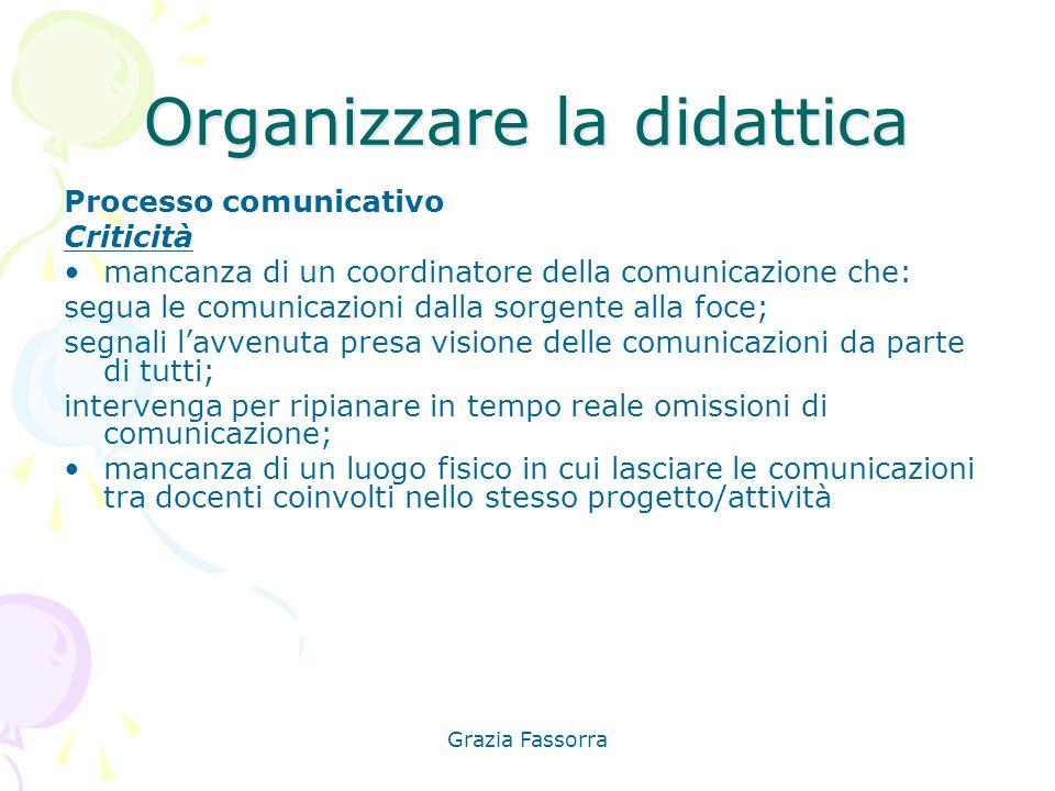 Grazia Fassorra Organizzare la didattica Processo comunicativo Criticità mancanza di un coordinatore della comunicazione che: segua le comunicazioni d