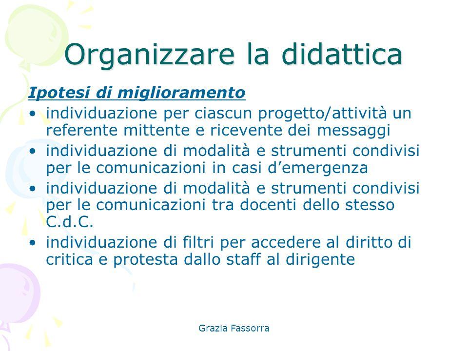 Grazia Fassorra Organizzare la didattica Ipotesi di miglioramento individuazione per ciascun progetto/attività un referente mittente e ricevente dei m