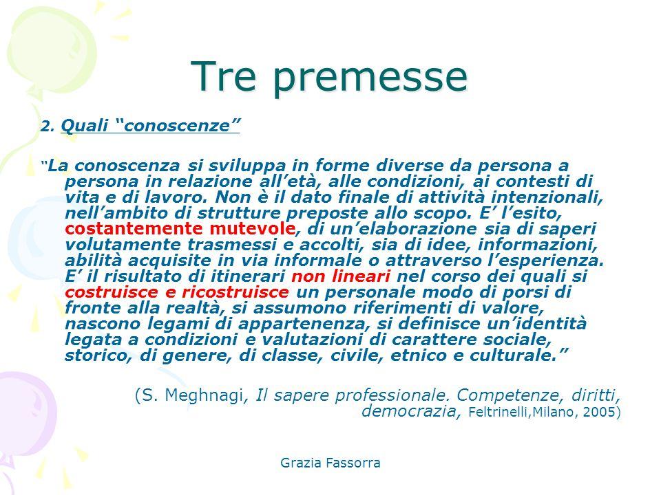 """Grazia Fassorra Tre premesse 2. Quali """"conoscenze"""" """" La conoscenza si sviluppa in forme diverse da persona a persona in relazione all'età, alle condiz"""