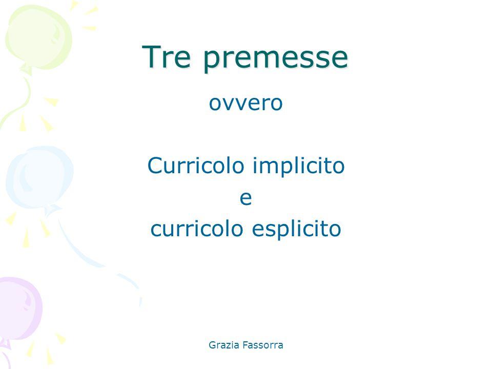 Grazia Fassorra Tre premesse ovvero Curricolo implicito e curricolo esplicito