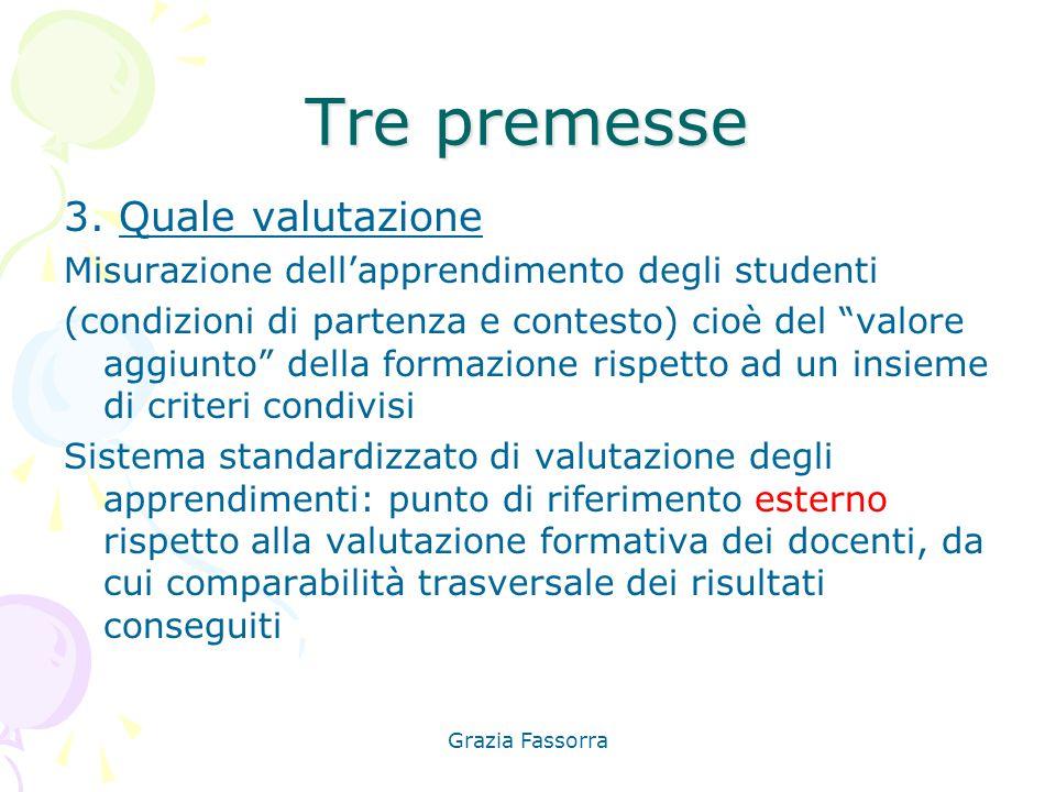 """Grazia Fassorra Tre premesse 3. Quale valutazione Misurazione dell'apprendimento degli studenti (condizioni di partenza e contesto) cioè del """"valore a"""