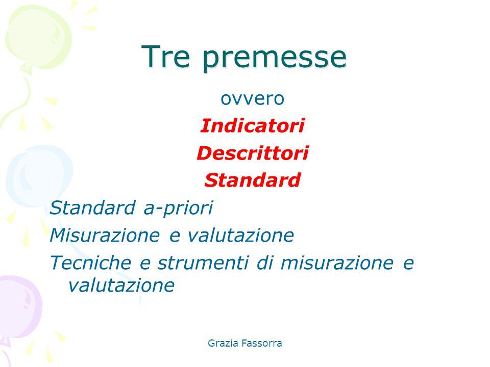Grazia Fassorra Tre premesse ovvero Indicatori Descrittori Standard Standard a-priori Misurazione e valutazione Tecniche e strumenti di misurazione e